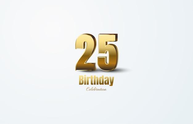 Figure 25 pour la célébration. avec des chiffres en or 3d élégants.