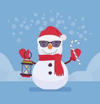 Figure de bonhomme de neige avec visage souriant