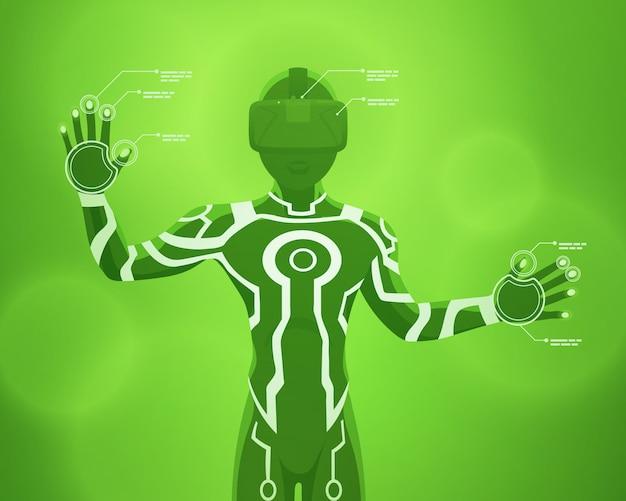 Figure masculine futuriste dans le casque de réalité virtuelle