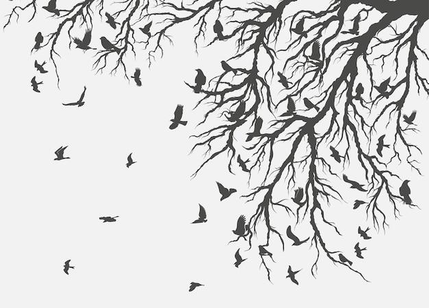 Figure troupeau d'oiseaux en vol sur une branche d'arbre.