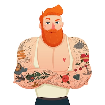 Figurine isolée d'homme tatoué