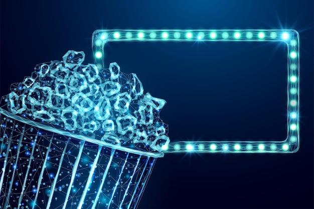 Filaire de maïs soufflé et panneau d'affichage léger. modèle d'affiche de soirée cinéma avec une collation savoureuse à faible teneur en poly rougeoyante.