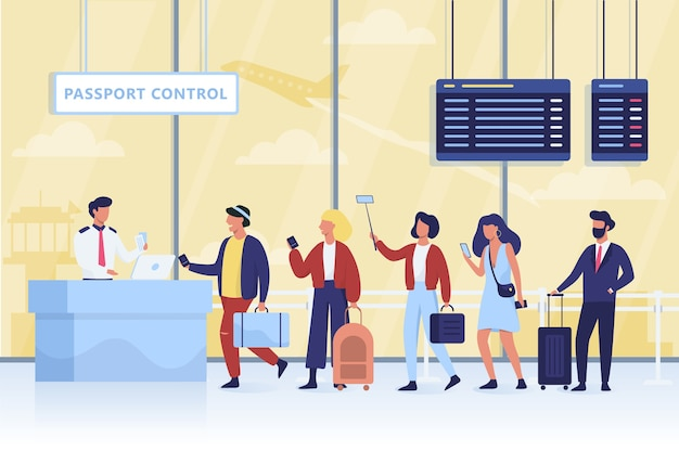 File d'attente au contrôle des passeports à l'aéroport