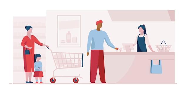File d'attente à la caisse dans le modèle de page de destination du supermarché