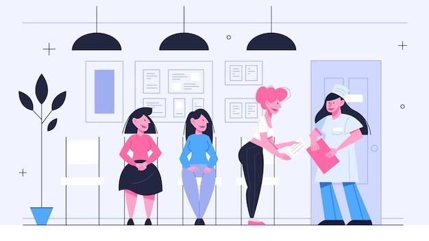 File d'attente chez le médecin. les gens attendent en ligne à l'hôpital. idée de soins de santé. illustration