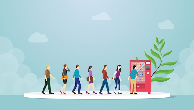 File d'attente de distributeurs automatiques avec le concept de nombreuses personnes