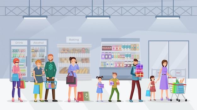 File d'attente de supermarché plat