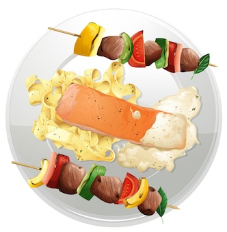 Filet de saumon et pâtes avec deux bbq de boeuf sur la plaque
