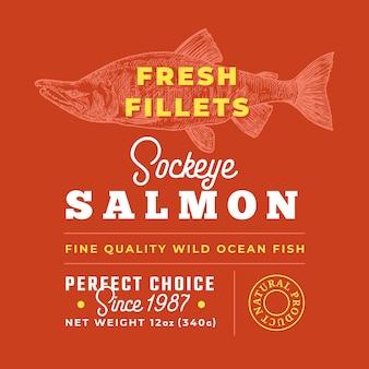 Filets frais étiquette de qualité premium vecteur abstrait poisson emballage conception mise en page typographie rétro avec ...