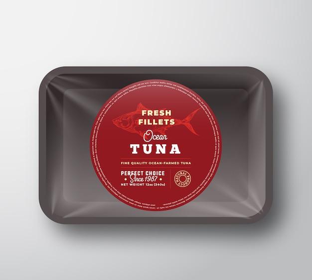 Filets de thon de l'océan. plateau en plastique de poisson vecteur abstrait avec conception d'emballage de couverture de cellophane