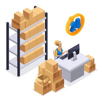 Fille accepte une commande par téléphone, livraison en ligne, service de livraison par courrier, travail 24h / 24