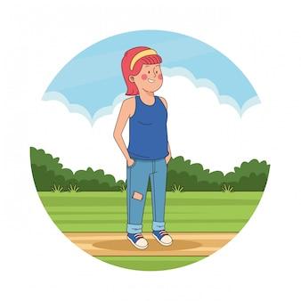 Fille adolescente dans le paysage du parc