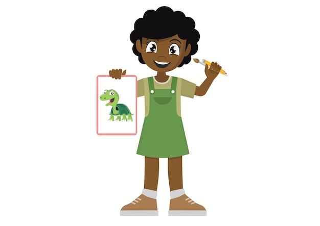 Fille africaine dessin belle imagevector eps10