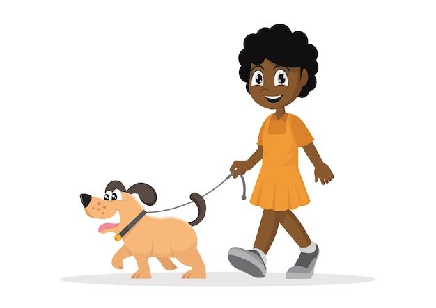Fille africaine marche avec chien.