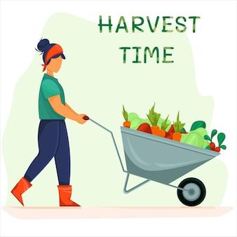 Fille d'agriculteur poussant la brouette de légumes concept d'illustration de la récolte des cultures