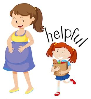 Fille aidant une femme enceinte