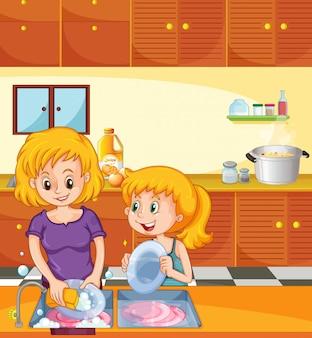 Fille aidant maman à faire la vaisselle