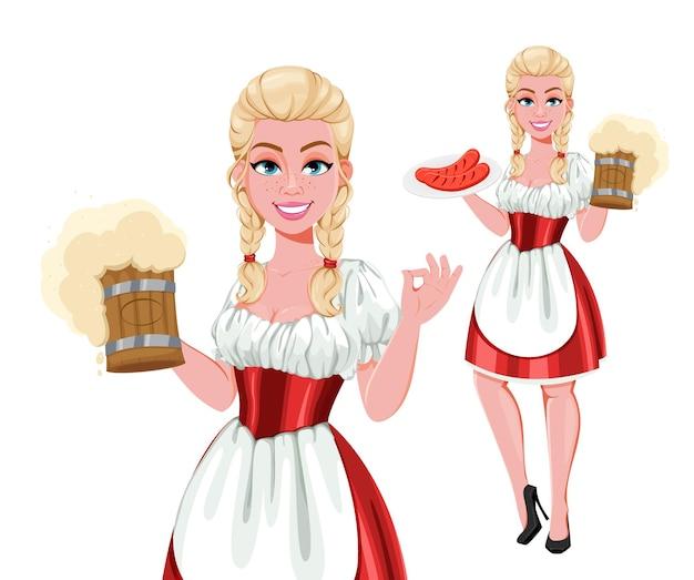 Fille allemande en costume traditionnel sur oktoberfest holding beer set de deux poses