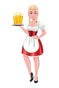 Fille allemande en costume traditionnel sur l'oktoberfest