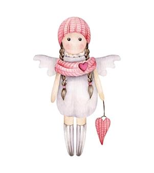 Fille d'ange de dessin animé isolée sur blanc
