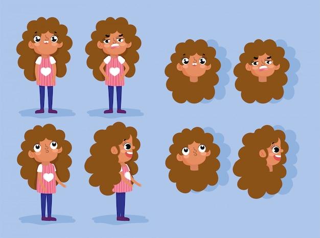 Fille d'animation de personnage de dessin animé fait face à des gestes et différents corps de posture