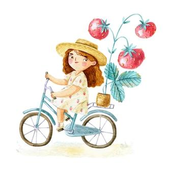 Fille aquarelle à vélo avec des fraises