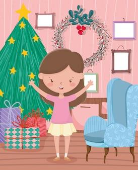 Fille avec arbre cadeaux canapé cadres salon célébration joyeux noël