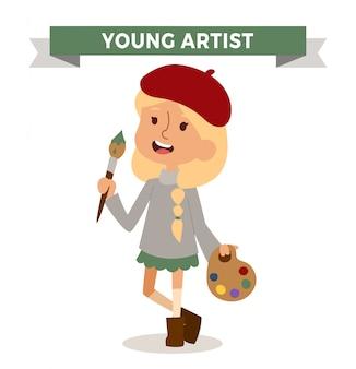 Fille d'artiste avec brosse d'art isolé