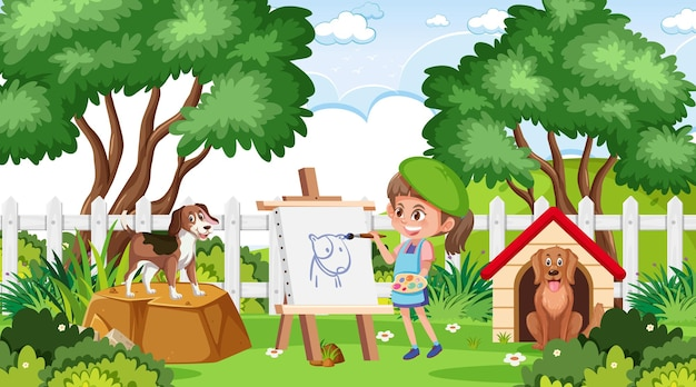 Une fille d'artiste esquissant un chien dans la scène de parc