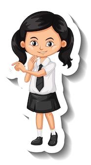 Fille asiatique en autocollant de personnage de dessin animé uniforme étudiant