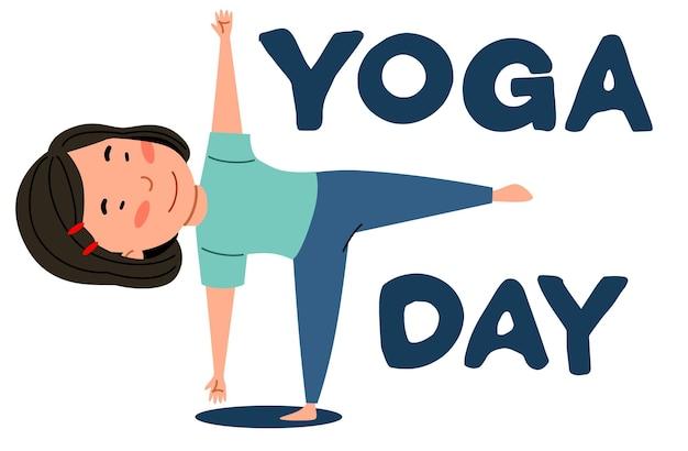 Fille asiatique se tient sur une jambe. l'enfant fait du sport. journée de yoga.