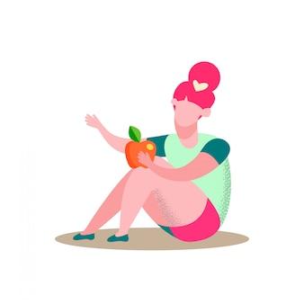 Fille assise détient illustration vectorielle plat apple