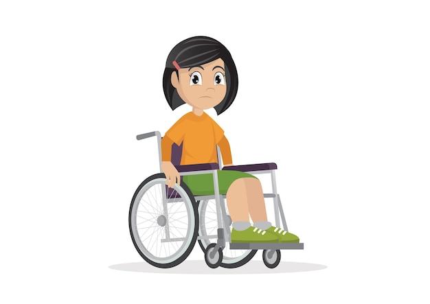 Fille assise sur un fauteuil roulant.