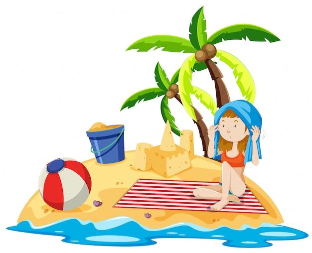 Fille assise sur l'île
