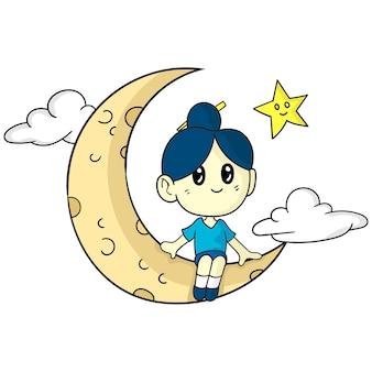 Fille assise sur la lune