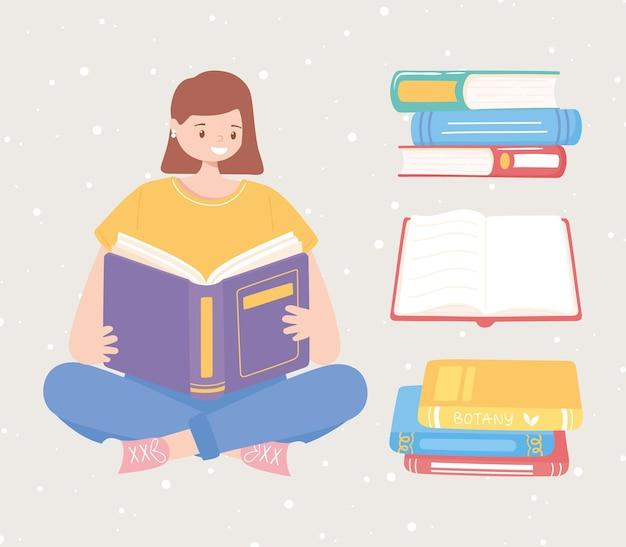 Fille assise avec de nombreux livres lisant et étudiant l'illustration de l'éducation