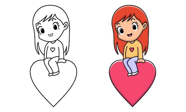 Fille assise sur une page de coloriage coeur rouge pour les enfants