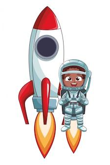Fille astronaute qui décolle