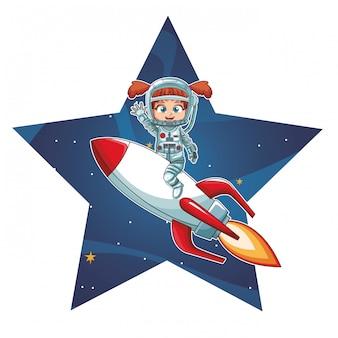 Fille astronaute sur le vaisseau spatial