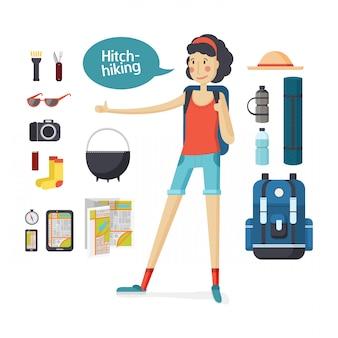 Fille attelage randonnée. offres jeune auto-stop, tourisme, randonnée, camping. ensemble de matériel de camping et de tourisme. fille avec gros sac à dos randonnée et équipement de voyage dans un appartement de style dessin animé.