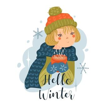 Une fille au chapeau avec une tasse dans ses mains et l'inscription hello winter.