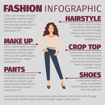 Fille au printemps vêtements mode infographique