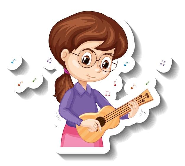 Fille d'autocollant de personnage de dessin animé jouant un instrument de musique ukulélé