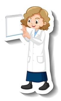 Une fille en autocollant de personnage de dessin animé de robe de science