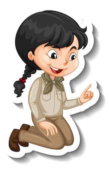 Fille en autocollant de personnage de dessin animé tenue safari
