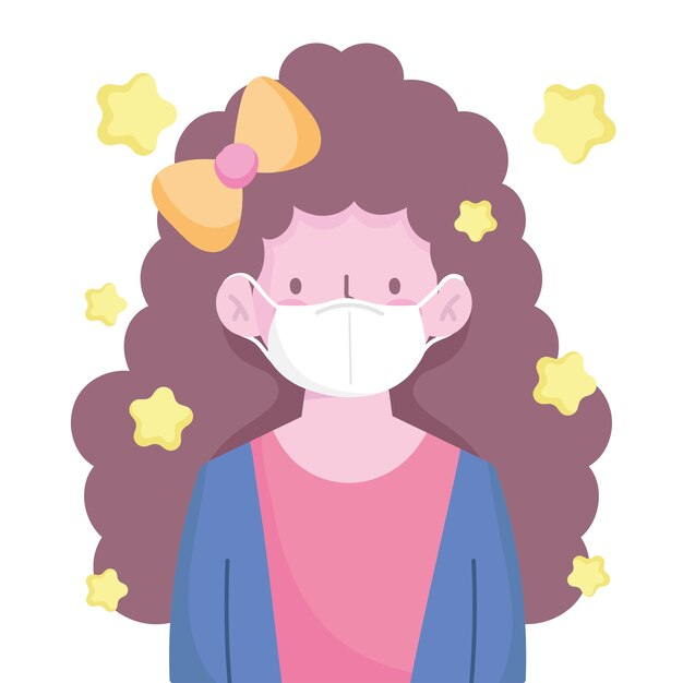 Fille aux cheveux longs bouclés et dessin animé de caractère masque médical nouvelle normale