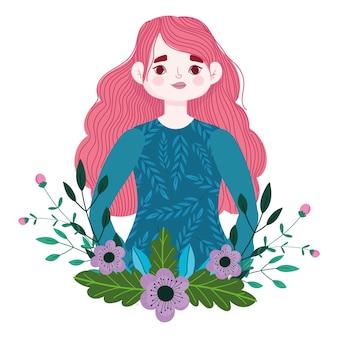 Fille aux cheveux longs roses fleurs feuillage décoration illustration de dessin animé