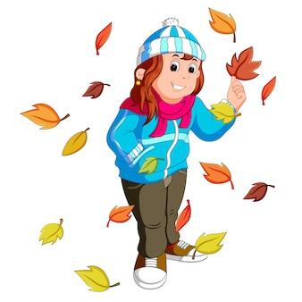 Fille aux feuilles d'automne