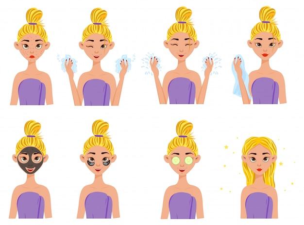 Fille avant et après les procédures cosmétiques