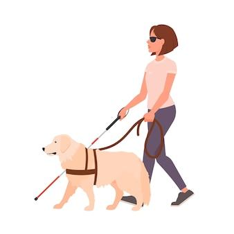 Fille aveugle marchant avec un chien-guide